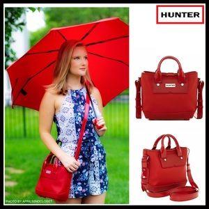 HUNTER ORIGINAL RED RUBBER MINI CROSSBODY TOTE BAG